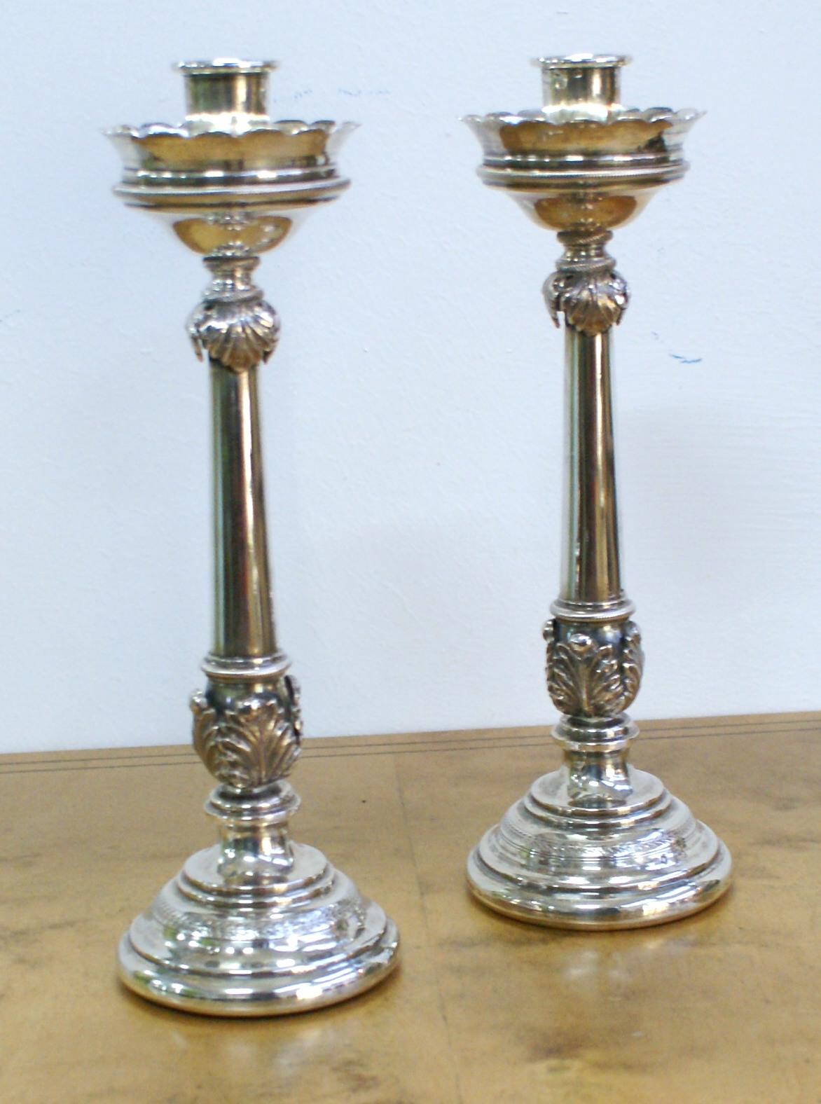 2 Empire-Kerzenleuchter, Silber Image