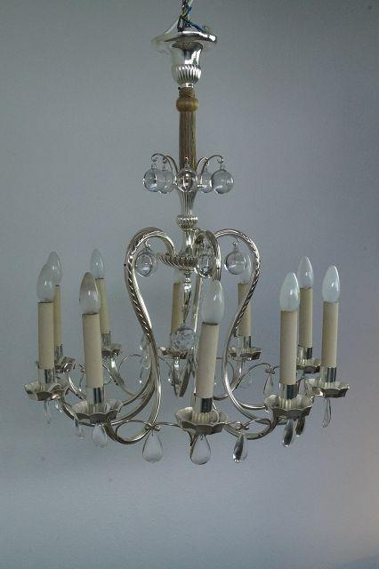 10-flammiger Kronleuchter, Glas/Chrom Image